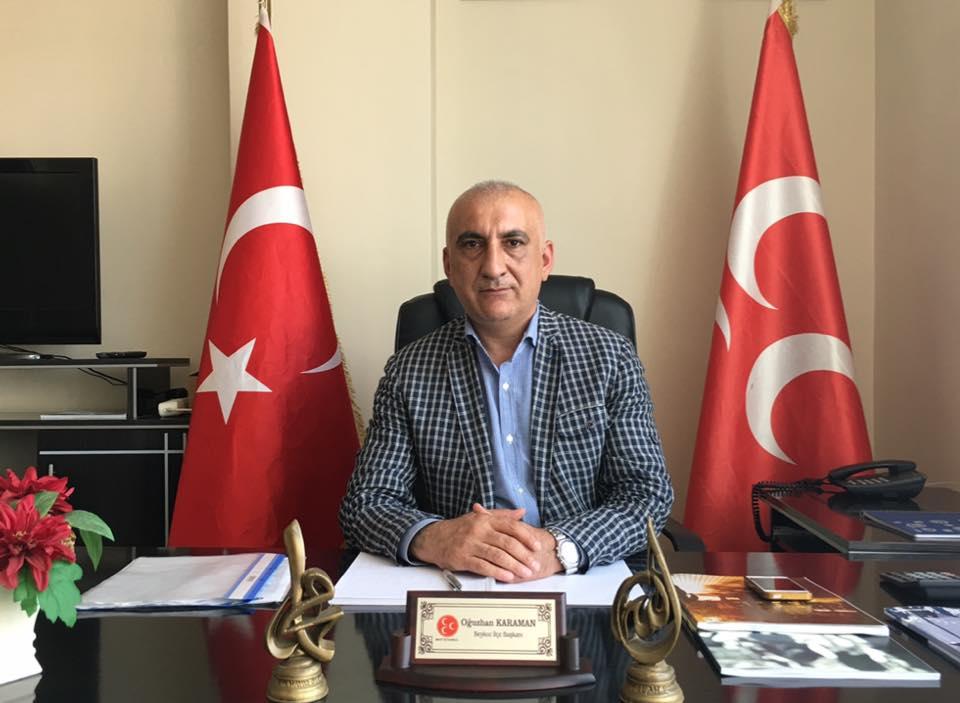MHP Beykoz İlçe Başkanı Oğuzhan Karaman'dan Bayram Mesajı
