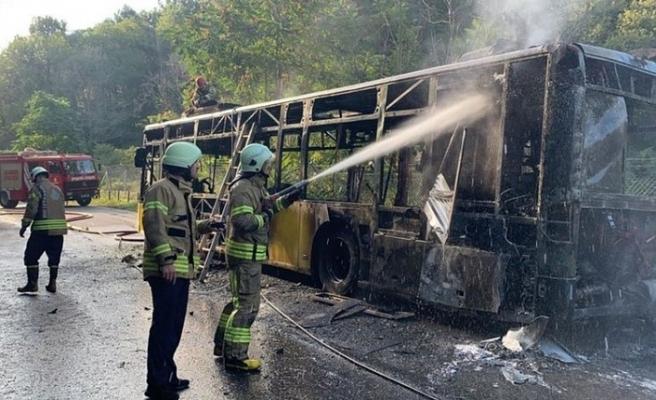Beykoz'da İETT Otobüsü Alev Alev Yandı