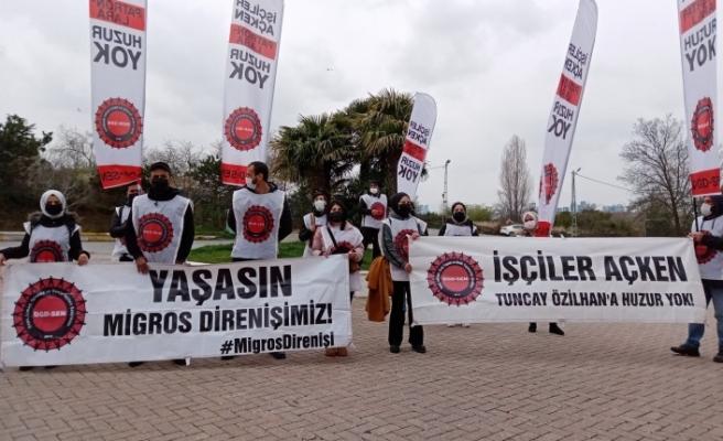 Beykoz'da Migros çalışanlarının eylemi devam ediyor
