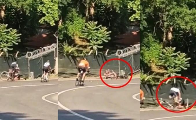Beykoz'daki bisiklet yarışında kaza görüntüleri ortaya çıktı
