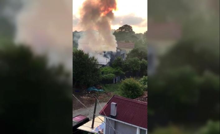 Beykoz'da tek katlı evde korkutan yangın